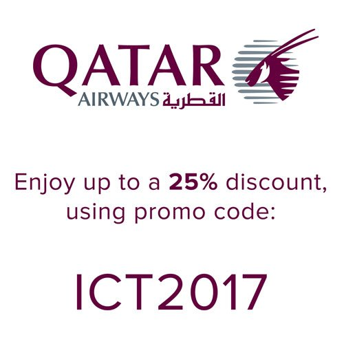 Fly With Qatar Airways To Attend ICT2017 In Limassol Cyprus Enjoy Up 25 Discount Please Use Promo Code Book The Exclusive Offer